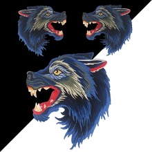 Embroidery iron wolf head patch badge iron clothes biker punk jeans jacket decal sticker sewing process patch design zip embellished biker jeans