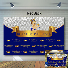 NeoBack Royal Baby Shower Backdrop Little Prince Photography Backdrops Blue Photo Background Newborn