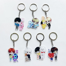 Kpop bts-bangtan boys Suga TATA V etc Personalized Cute Acrylic Cartoon Keychain Women Men Bangtan Accessories Bags Chain(China)