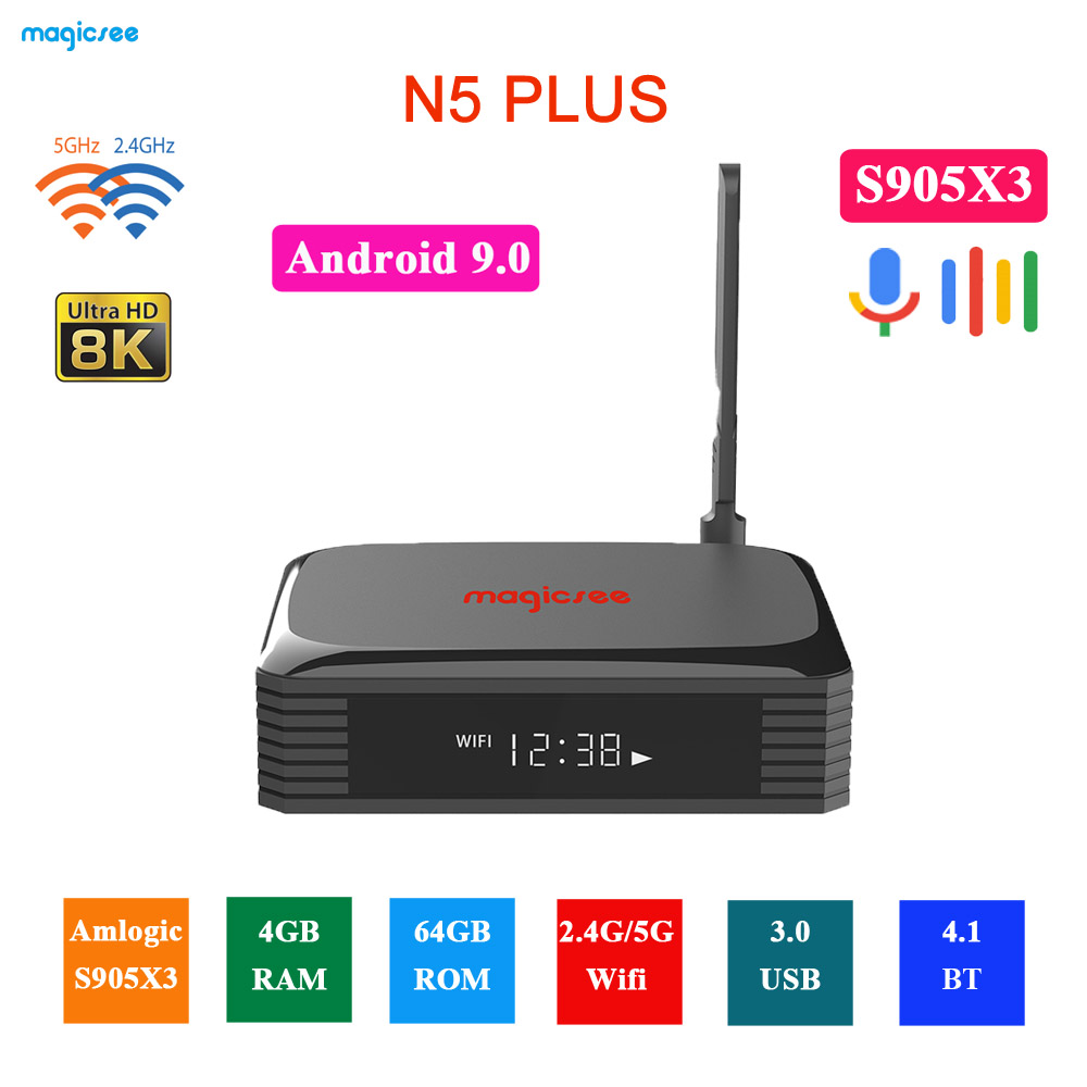 Magicsee N5 Plus S905X3 Android 9.0 TV BOX 4G Ram 64G Rom 2.4/5G Dual WiFi Ethernet BT 4.0 Smart Box 8K HDR Set Top Box