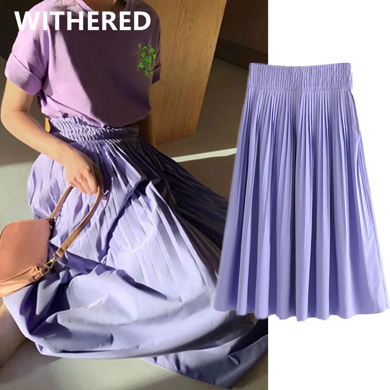Withered Ins Fashion Blogger England Vintage Pleated Lavender Solid Long Tskirt Women Faldas Mujer Moda 2020 Midi Skirts Womens