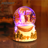 A Girl Send Letter Crystal Ball Rotating Music Box Bluetooth Artificial Snow Christmas Gift For Children Home Decoration D067