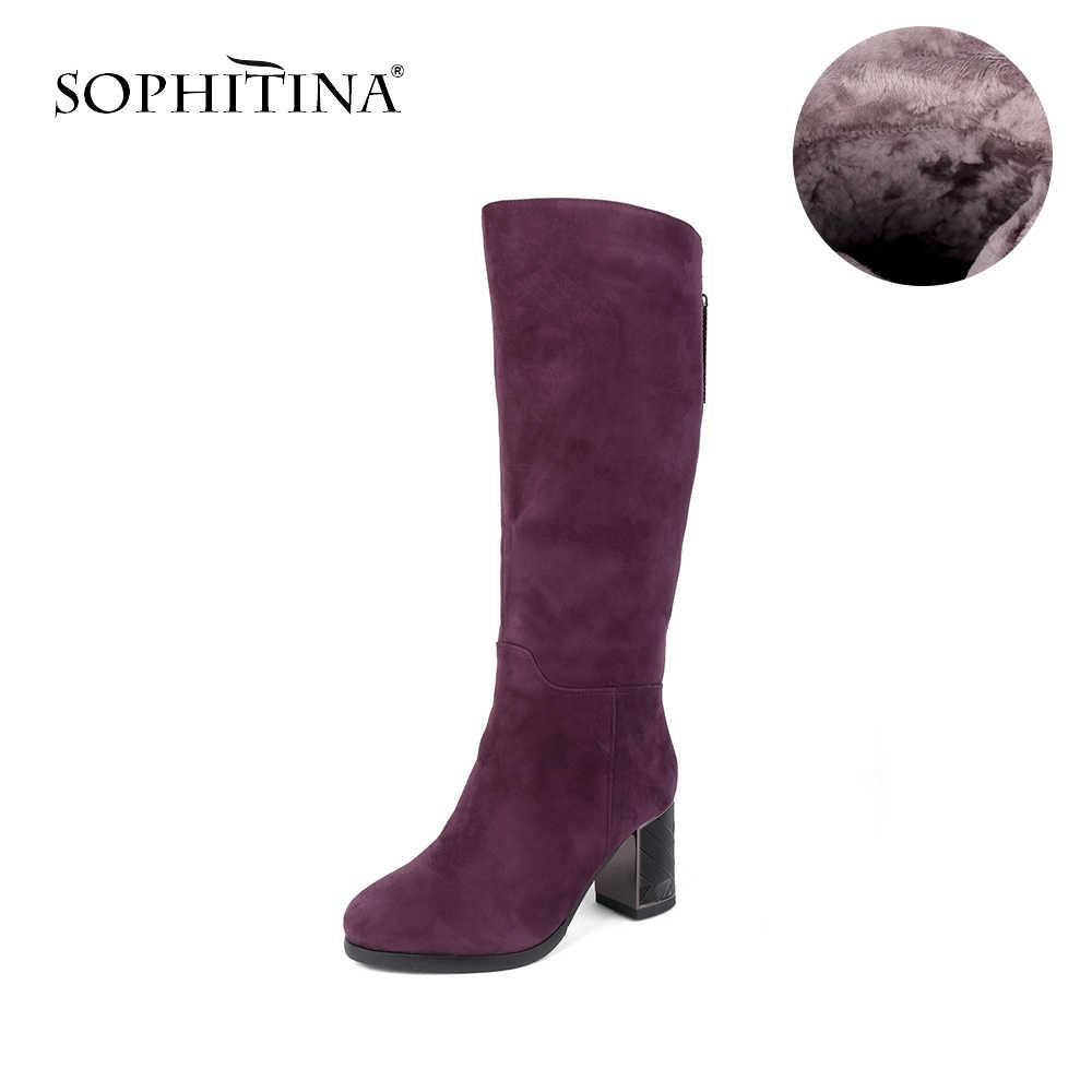 SOPHITIAN אופנה נשים של מגפי זמש ילד באיכות גבוהה נוח כיכר העקב רוכסן לשמור חם חדש נעלי חורף צמר מגפיים c230