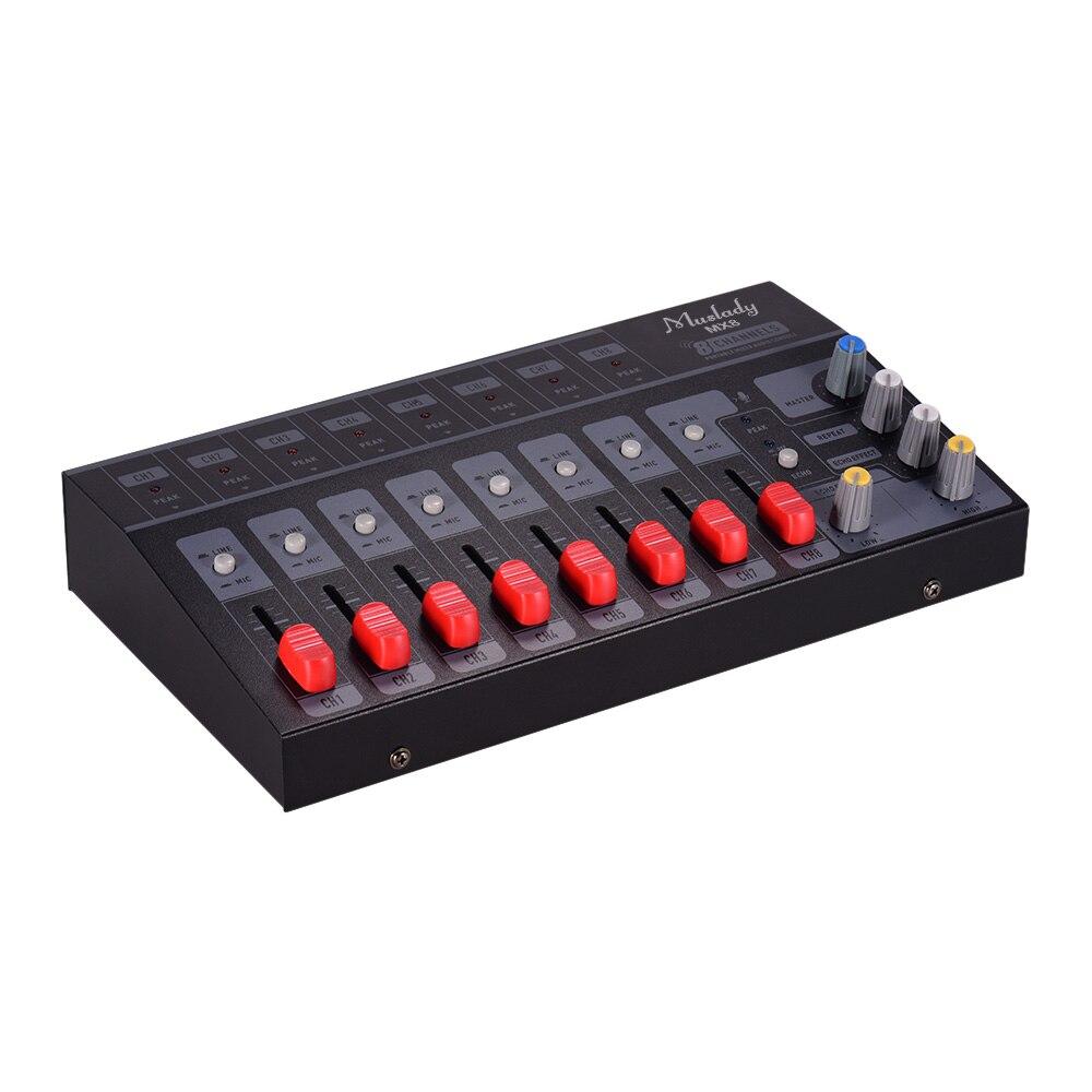 Muslady MX8 Portable 8 canaux Compact carte son stéréo son mélangeur à faible bruit avec effet d'écho