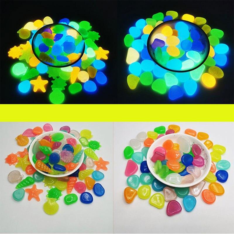 Luminous Glowing Stones Shell Shaped Starfish Shell For Fish Tank Table Walkways Garden Glow in the Dark Pebbles Decor