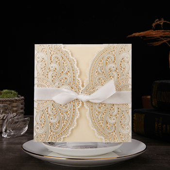 Blue Gold Ivory Laser Cut Wedding Invitations Elegant Hollow Lace Invitation Cards for Marriage Party Favors,50Pieces