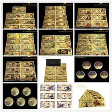 21 pçs/set 2020 novo japão anime nota dragão digimo saint seiya uma peça de cédula yen dinheiro para a coleção