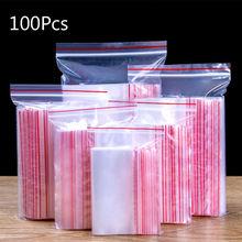 100* многоразовая сумка с замком-молнией, Самоуплотняющаяся, прозрачная пластиковая, на молнии, для хранения пищевых продуктов, ювелирных изделий, косметики, небольшие детали, принадлежности, сумка для хранения