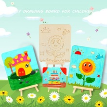 DIY Wood Blank Drawing Board Set with Painting Plate Stand Reference Picture Art Educational Toys For Kid NOT Contain Pigments