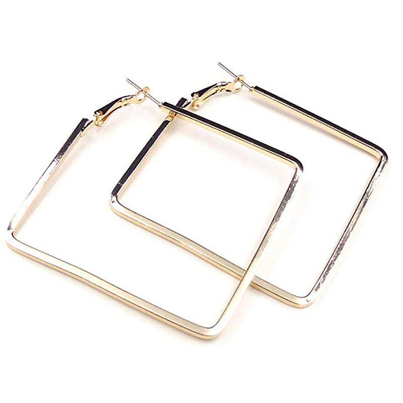 Big Statement Fashion Rose Gold Silver Square Earrings Jewelry Simple Geometric Earrings For Women Metal Pendant Earrings 2019