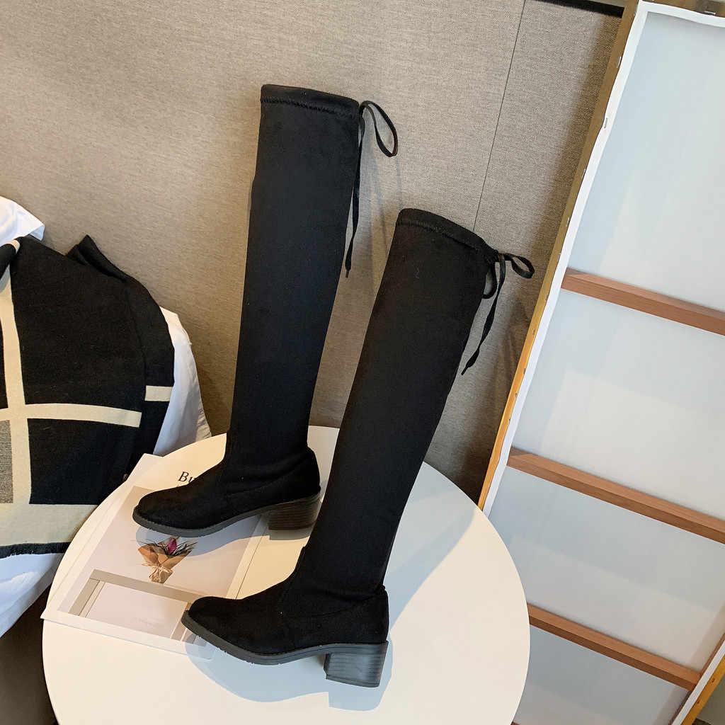 Dij Hoge Laarzen Vrouwelijke Winter Laarzen Vrouwen Over de Knie Laarzen Platte Stretch Sexy Mode Schoenen 2018 Nieuwe Rijlaarzen # A1