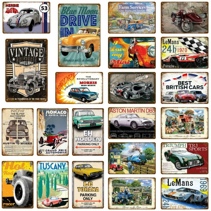 Drive Old Fashion British Car Metal Tin Sign Vintage Service & Repair Garage Metal Wall Art Poster Garage Plaque Home Decoration
