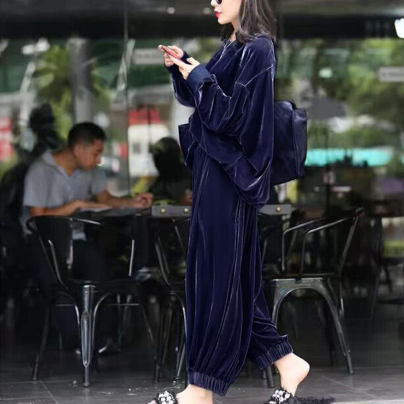 Two Piece Set Female 2020 Spring Autumn Plus Size Gold Velvet Suit Women Fashion Loose Casual Sports Wide Leg Pants Ropa Mujer