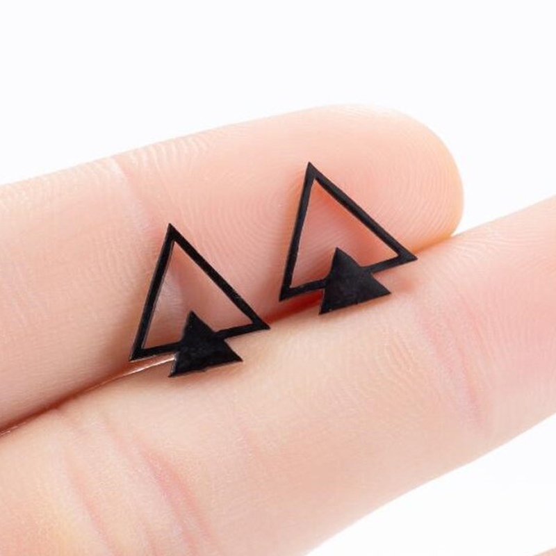 SMJEL Fashion Bohemian Vintage Earrings Jewelry Small Black Geometric Triangle Stainless Steel Stud Earring Gift for Women Girl