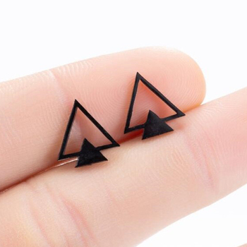 SMJEL Fashion Bohemian Vintage Earrings Jewelry Small Black Geometric Triangle Stainless Steel Stud Earring Gift for Women Girl fashion jewelry golden triangle small black white glass drop earrings woman gift