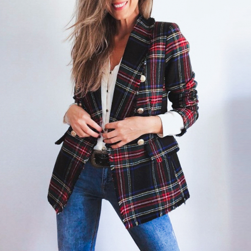 Classic Plaid Chic Autumn Blazer Jacket  Women Streetwear Tweed Long Sleeves Winter Blazer Coat Female Casual Coats