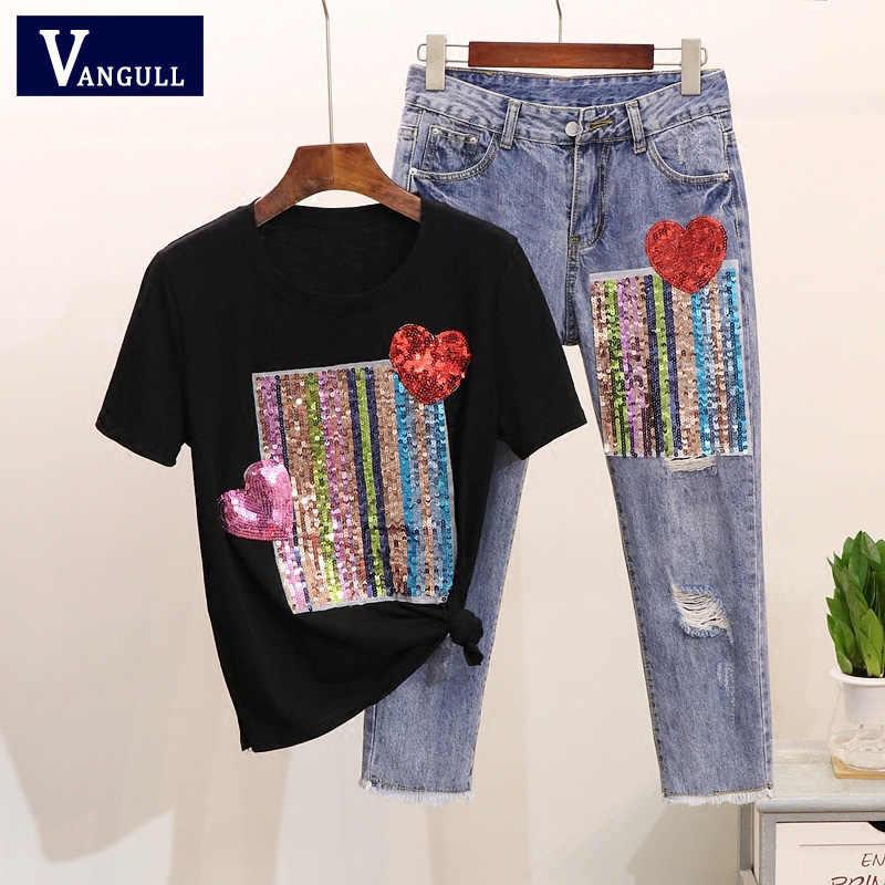 Vangull/2019 летние футболки с сердцем и пайетками джинсовые штаны хлопковая Футболка рваные брюки комплект из 2 предметов, костюмы большого размера