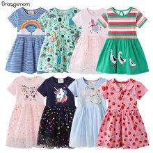 Vestido de verano para niñas, ropa infantil de algodón, 2-8 años, arcoíris, unicornio, 2021