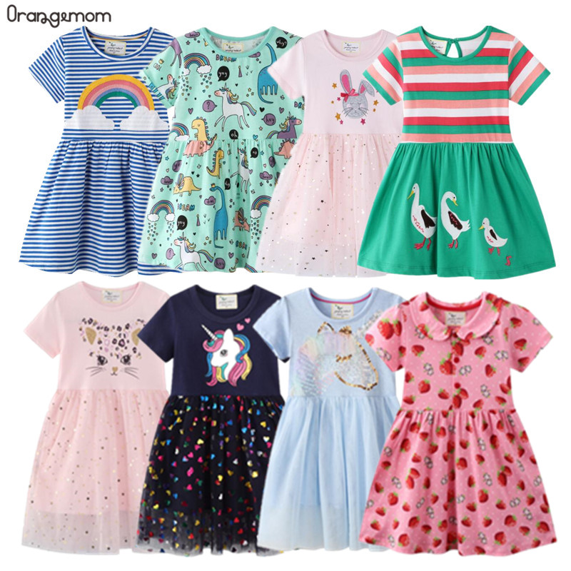 2021 Summer dress Girl Clothing Children's Clothes Cotton 2-8Y costumes Dresses for girls Toddler child Rainbow unicorn dress