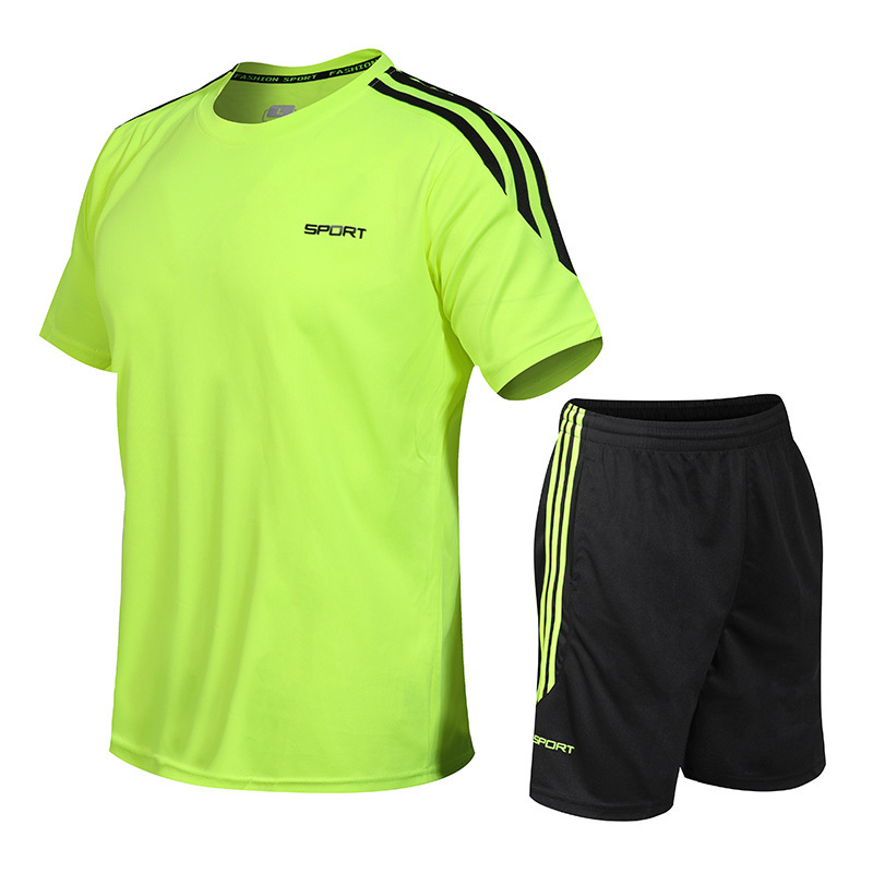 Men's 2020 Summer Refreshing Running 2 Piece Suit Breathable Quick-drying Workout Shorts+Short Sleeve Jogging Gym Training Set