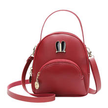 Women's Girls Mini Backpack Imitation Leather Backpack Bag Travel Tote Leather Solid Color Zipper Buckle(China)