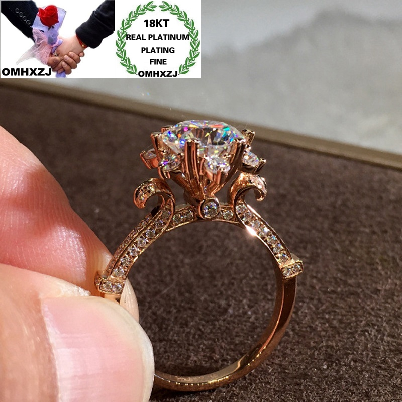 OMHXZJ Wholesale RR1252 European Fashion Fine Woman Girl Party Birthday Wedding Gift Flower AAA Zircon 18KT White Rose Gold Ring