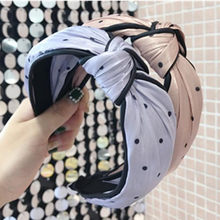 Purple Head Band Dots Print Women Hair Accessories Black Line Decorated Headband Knotted Center Bow Hairband Adults Headdress(China)