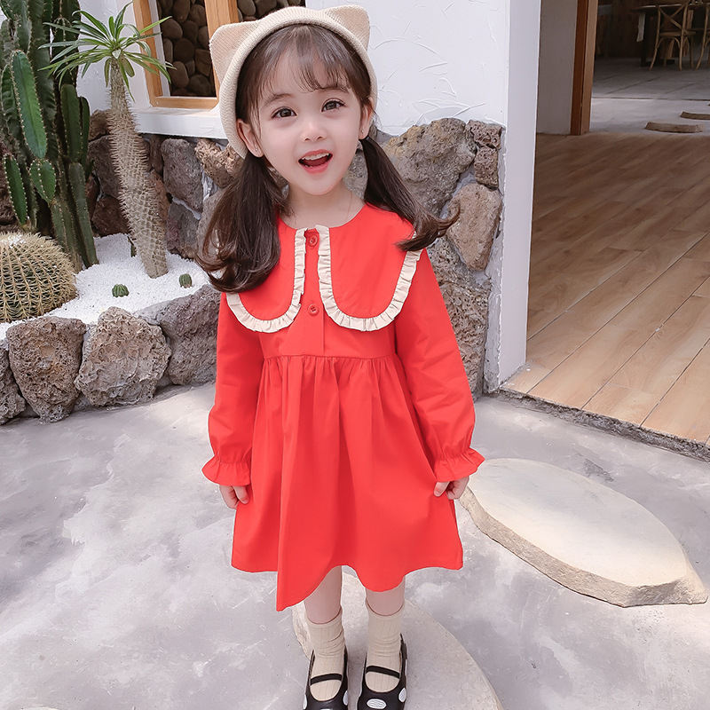2020 New Spring Girls' Dress Korean Spring Autumn Lapel Korean Long Sleeve Princess Dress Children's Baby Kids Girls Clothing