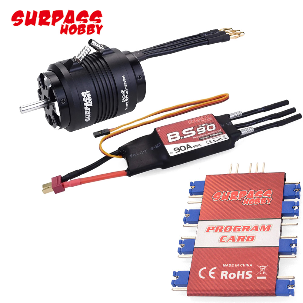 Surpass Waterproof 3660 3500KV Motor w/ Water Cooling Jacket & 90A Brushless ESC Programming Card For RC Boat RC Accessories