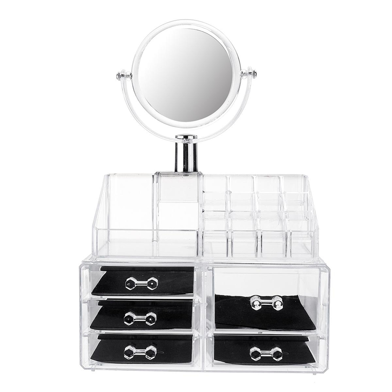 Cheap Chance for  Large Mirror Clear Cosmetic Organizer Box Makeup Storage Drawer Desk Bathroom Makeup Brush Lipstick