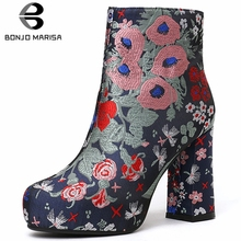 BONJOMARISA New Brand Ethnic Platform Booties Ladies Party Fashion Embroider Ankle Boots Women 2019 High Heels Shoes Woman 33-43