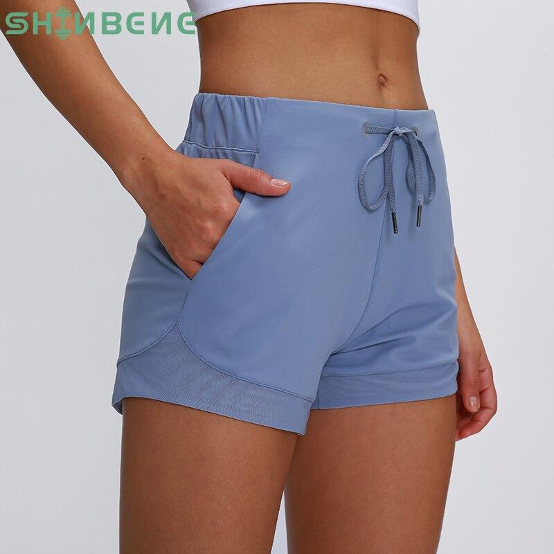 SHINBENE Waist Drawstring Loose Fit Training Gym Sport Shorts Women Naked-feel Fabric Running Yoga Fitness Shorts With Pockets