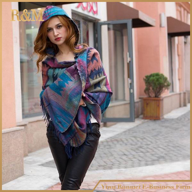 2019 Women Winter Boho Hooded Coat Poncho female Cashmere Scarves ladies Warm Shawls and Wrap Pashmina Thick Capes blanket scarf 4