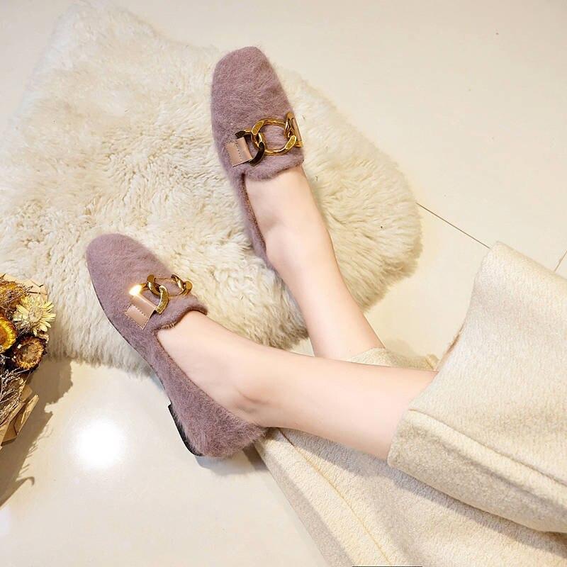 Women Shoes Fur Shoes Woman Autumn Winter Short Plush Flat Shoes Women Loafers Ladies Shoes Zapatillas Mujer chaussures femme 41