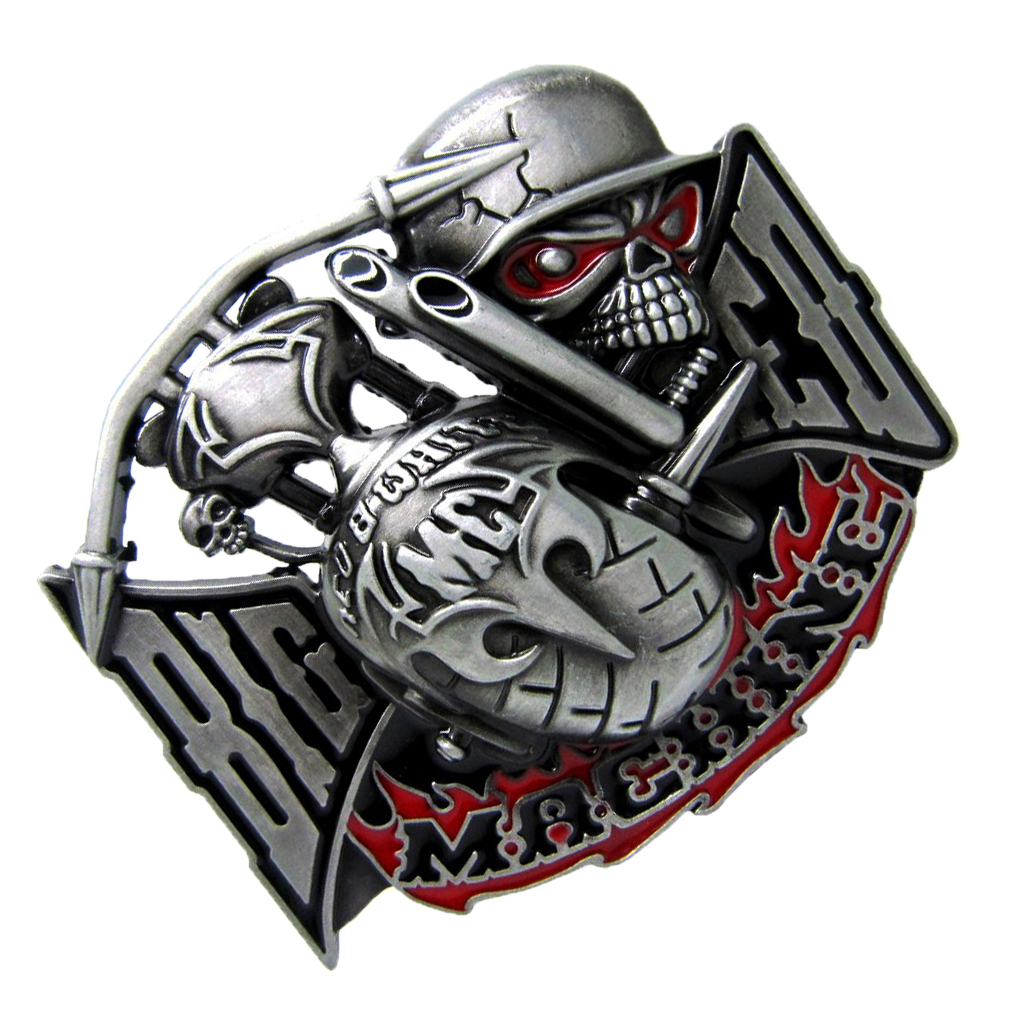 1Pc Novelty BIKER TO THE BONE Skeleton Head Western Cowboy Metal Belt Buckle