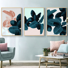 Nordic Abstract Blue Leaves Landscape Wall Art Canvas Painting Poster Print Picture for Living Room