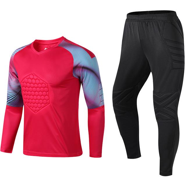 Men Women Soccer Goalkeeper Jerseys Chest Elbow Knee Football Set Goal Keeper Uniform Suit Training Pants Shirts Custom Printing