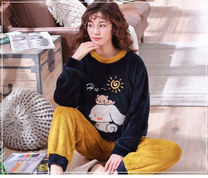 Long Sleeve Warm Flannel Pajamas Winter Women Pajama Sets Print Thicken Sleepwear Pyjamas Plus Size 3XL 4XL 5XL 85kg Nightwear 291