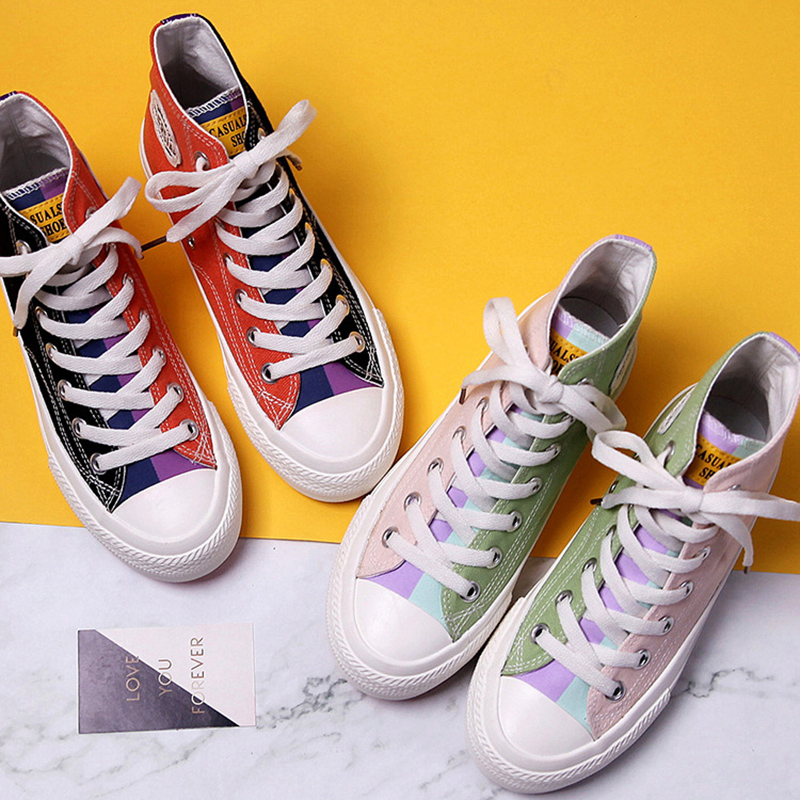Women Sneakers Canvas Shoes 2020 Spring Trend Casual Flats Sneakers Female New Fashion Comfort Color High