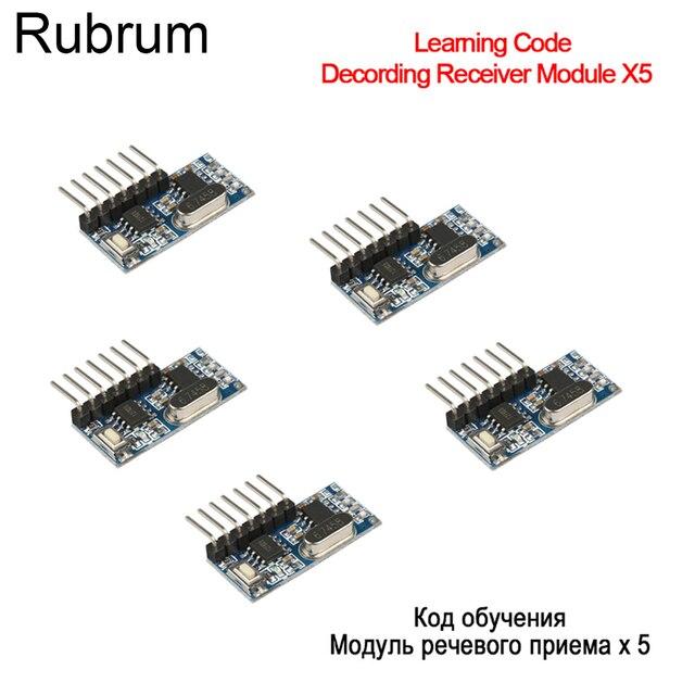 Rubrum 5PCS 433Mhz אלחוטי שלט רחוק מתג 4CH RF ממסר EV1527 קידוד למידה מודול עבור אור LED RF ממסר מקלט