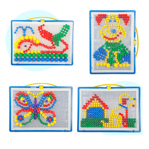 Image 2 - For Children 296pcs Mosaic Picture Puzzle Toy Children Composite Intellectual Educational Mushroom Nail Kit Toys with Box