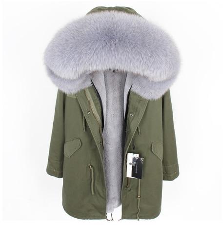 Winter baumwolle kleidung neue mode Natürliche fuchs pelz kragen Frauen der pelz mantel jacke Verdickt liner Parka Warme streetwear