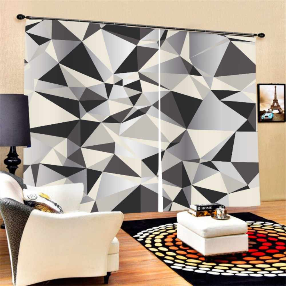 3D Geometric Patterns Window Curtain 2 Panels Polyester Black-out Curtain for Bedroom Living Room Kitchen,Modern Style Series