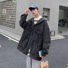Куртка мужская джинсовая с капюшоном модная повседневная куртка