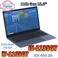 Topton 11th Gen portátil de 15,6 pulgadas Intel Core i7 1165G7 i5 1135G7 NVIDIA MX 450 de Metal portátil Ultrabook Windows 10 Netbook WiFi