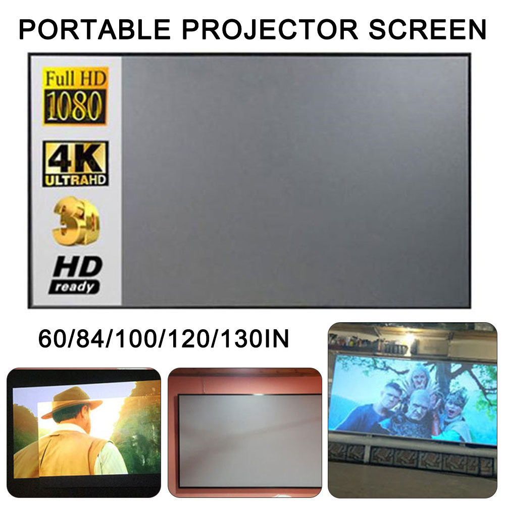 Tela reflexiva do projetor do brilho alto 60/84/100/120 polegada 16:9 tecido pano para xiaomi dlp yg300 t6 xgimi h2 auréola mogo
