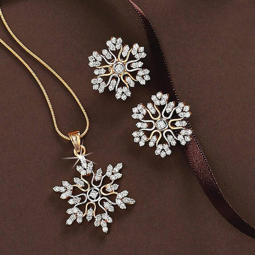 3Pcs/Set Snowflake Necklace Earrings Christmas Luxury Jewelry Set Silver Color CZ Crystal Pendant Necklace Valentine's Gifts