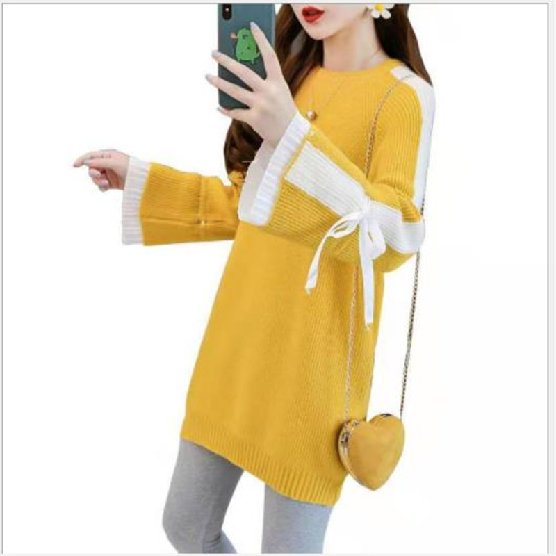 Sweet Women Sweater Dress Autumn Spring Knitted Dress Pullovers Lady Elegant 2020 Long Flare Sleeve Pull Femme Knitwear H313