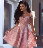Luxury Pearls Pink Short Prom Dresses Arabic Dubai Style A Line Sweetheart Knee Length Party Dress Evening Gowns