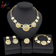 Yulaili Latest Bridal Jewelry Sets Charm Two Tones Rhinestone Round Shape Necklace Earrings Bracelet Ring for Women Wholesale a suit of stylish rhinestone irregular wave necklace bracelet ring and earrings for women